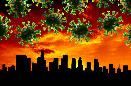 Los Angeles Skyline Coronavirus 3D Illustration