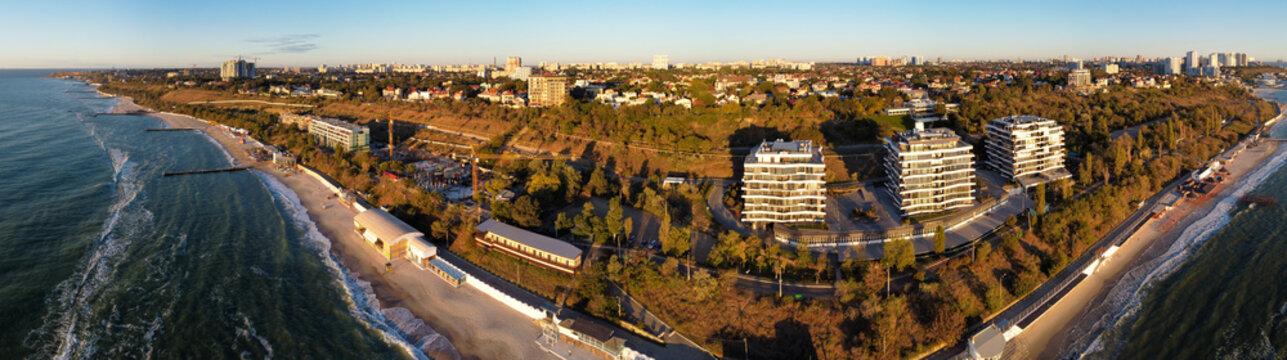 Odessa, Ukraine: seashore buildings panoramic view