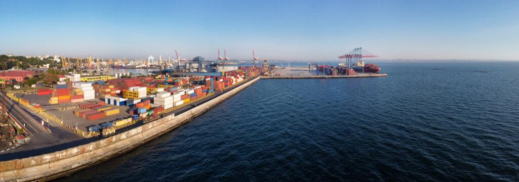 Odessa, Ukraine: port container terminal along seashore panoramic view