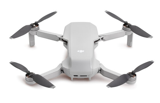 dji mavic mini drone path isolated on white