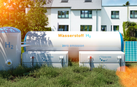 Hydrogen renewable energy production - hydrogen gas for clean electricity at real estate home