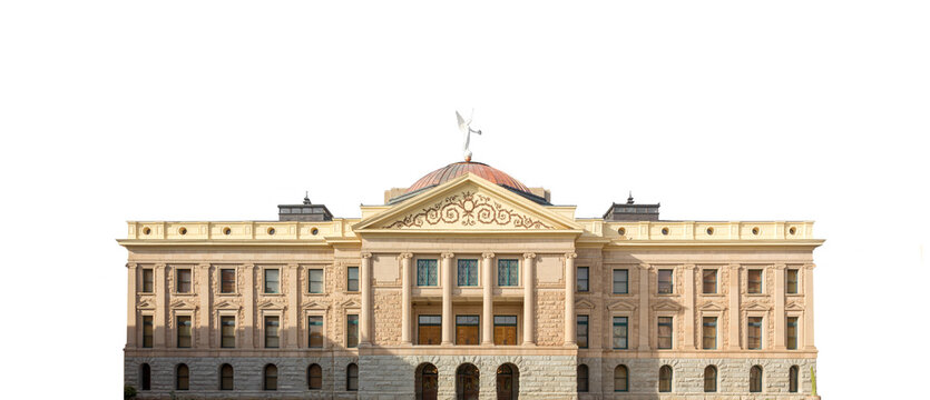 The Arizona State Capitol (phoenix, USA) isolated on white background