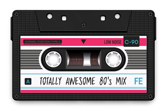 Relistic Black Audio Cassette, Totally Awesome 80's Mixtape