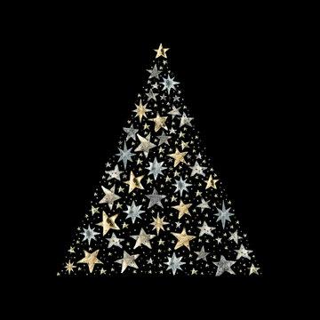 Watercolor Paint Christmas card pine gold Metallic Elegant handmade painting bush