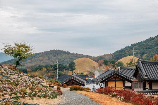 Seoak-dong old village and ancient royal tombs in Gyeongju, Korea