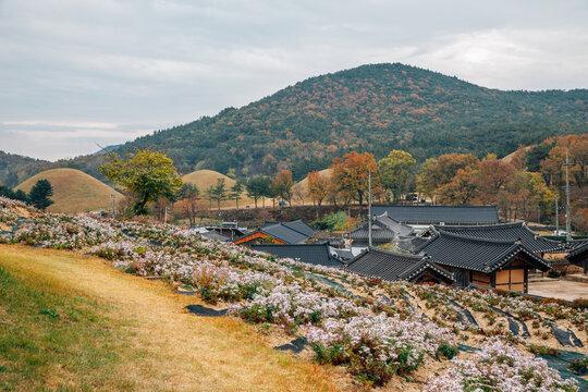 Autumn of Seoak-dong old village and ancient royal tombs in Gyeongju, Korea
