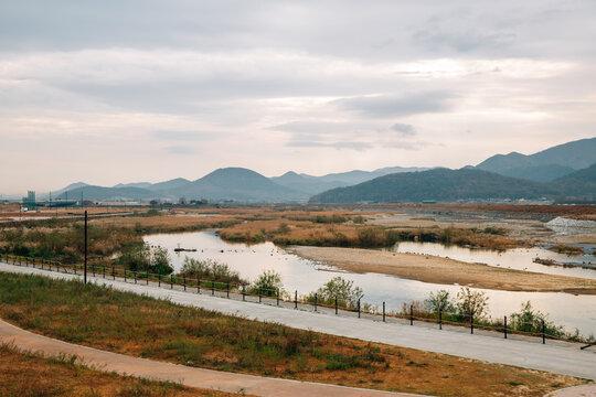 Hyeongsan river and rural scenery at autumn in Gyeongju, Korea