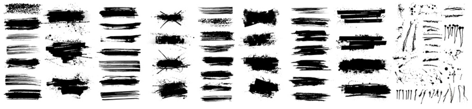 Beautiful Paintbrush vector collection. Grunge elements - Brush stroke, ink paint brush, grunge lines. Rectangle text boxes for social media and network. Vector texture dirty brushes and wide brushes
