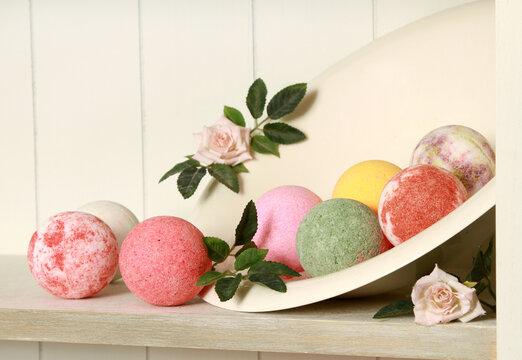 Closeup shot of colorful bath bombs on the shelf