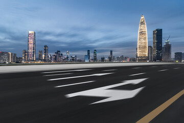 Night skyline and motorway of Shenzhen Financial District, Guangdong, China Fotomurales