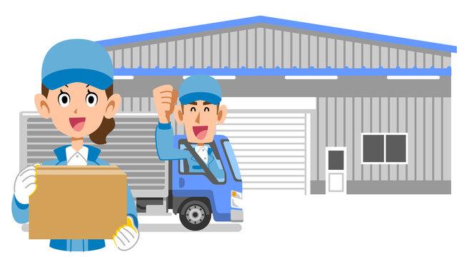 倉庫と荷物を持った女性と男性トラックドライバー