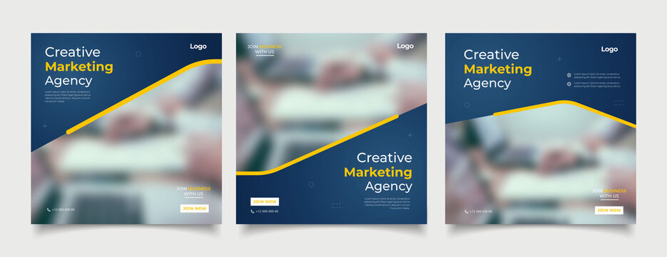 Creative marketing agency banner for social media post template