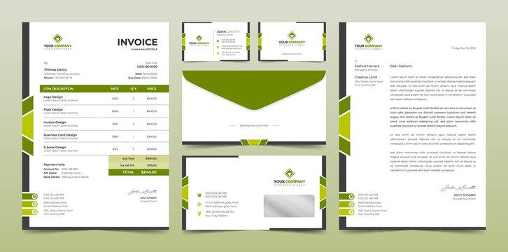 Corporate business branding identity, Stationery design, Letterhead, Business card, Invoice, Envelope design