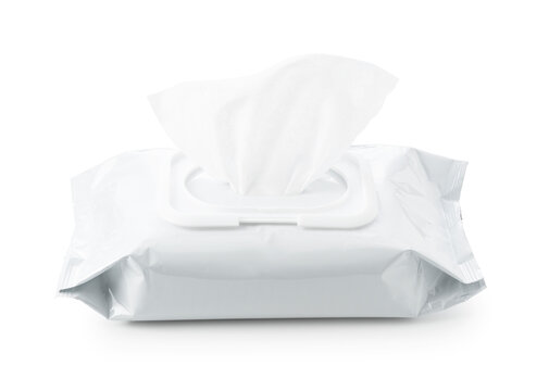 Wet wipes placed on a white background