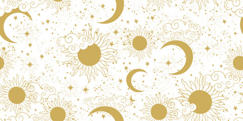 Obraz Seamless golden space pattern with sun, crescent, planets and stars on a white background. Mystical ornament of the mystical sky for wallpaper, fabric, astrology, fortune telling. Vector illustration - fototapety do salonu