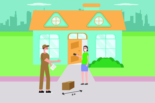 Delivery vector concept: Male courier in face mask receiving credit card payment from client at the yard with social distance during corona virus pandemic