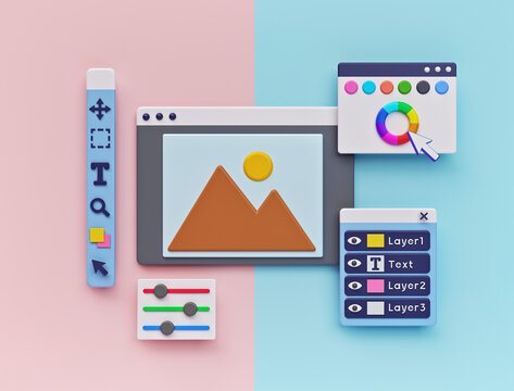 Photo Editing Software concept. minimal design. 3d rendering