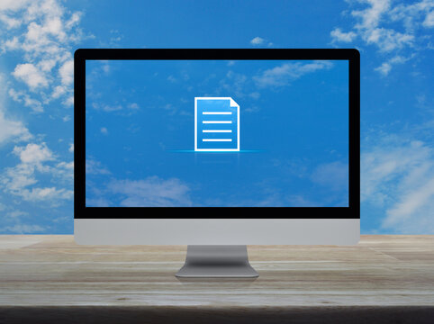 Document flat icon on desktop modern computer monitor screen on wooden table over blue sky with white clouds, Technology internet online concept