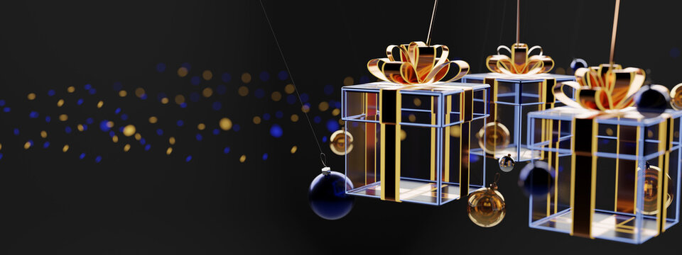 View of a Christmas background with christmas gift and decoration - 3d rendering