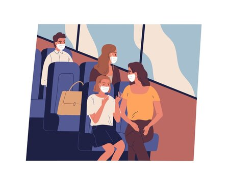 People in face masks commuting or traveling by bus during coronavirus pandemic. Male and female passengers sitting inside modern public transport while covid restrictions. Flat vector illustration