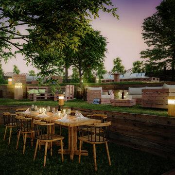 Garden Area  of Pub & Restaurant (focus) - 3d visualization