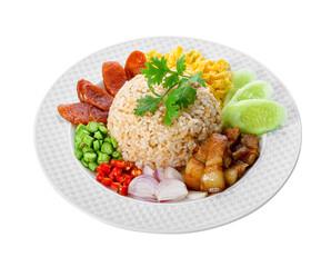 Obraz Thai food - Kao Cluk Ka Pi (Mixed Cooked Rice with Shrimp Paste Sauce) isolated on white. - fototapety do salonu