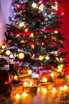 Beautiful Christmas tree with lights