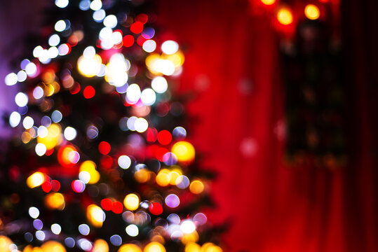 Blurred Christmas tree with lights