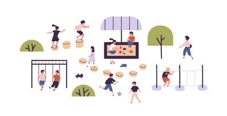 Kids playing games at modern playground in kindergarten. Children having outdoor activities. Boys and girls spending time together outside. Flat vector illustration on white background