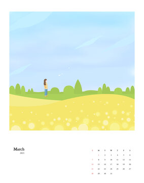 2021 New Year Calendar Set 03 : woman and flower bed
