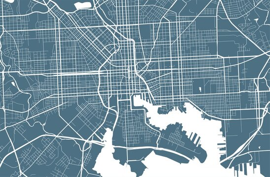 Detailed map of Baltimore city, linear print map. Cityscape panorama.