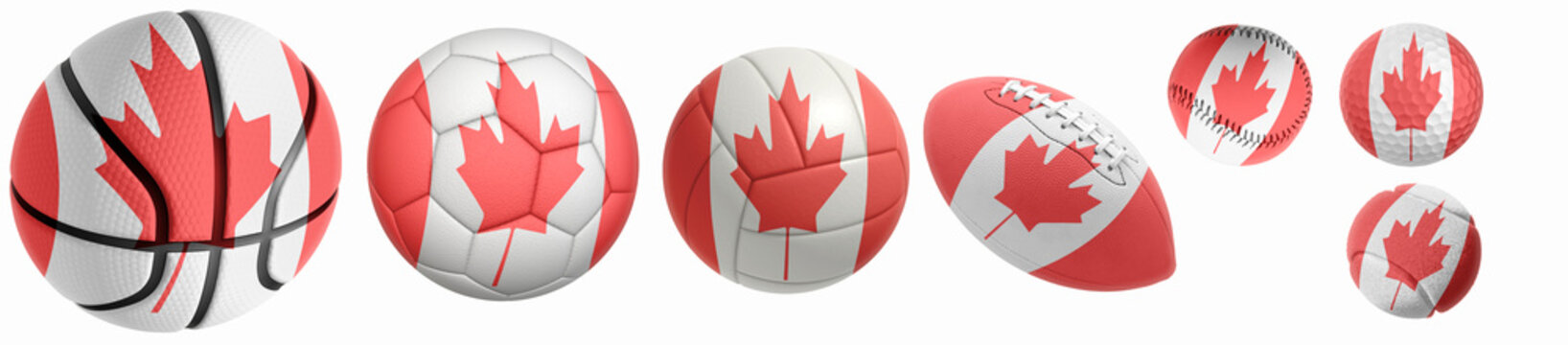Canada flag superimposed on balls: Golf, basketball, volleyball, soccer, tennis, rugby, baseball isolated on a white background. 3d rendering