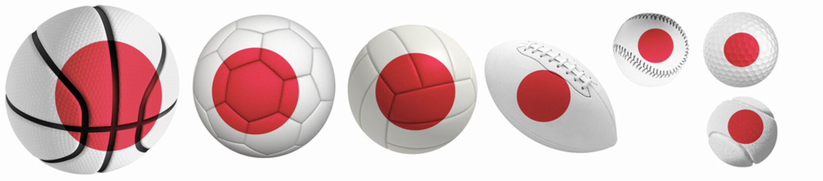 Japan flag superimposed on balls: Golf, basketball, volleyball, soccer, tennis, rugby, baseball isolated on a white background. 3d rendering