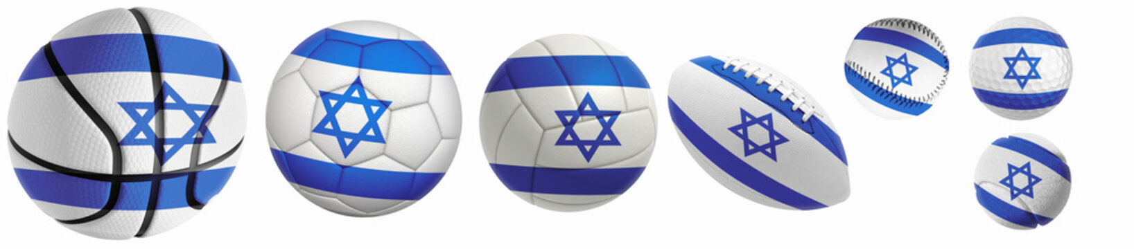 Israel flag superimposed on balls: Golf, basketball, volleyball, soccer, tennis, rugby, baseball isolated on a white background. 3d rendering