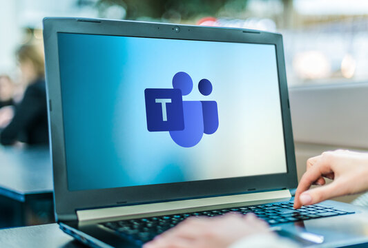 Laptop computer displaying logo of Microsoft Teams