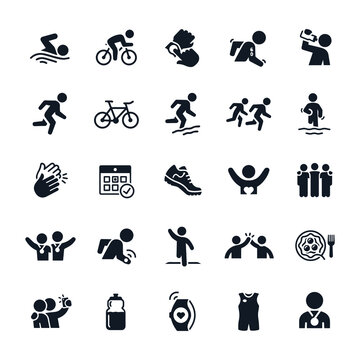 Triathlon Icons stock illustration. Swimming, cycling and running, a triathlete drinking water, racing against competition, a group of triathletes with arms around shoulders