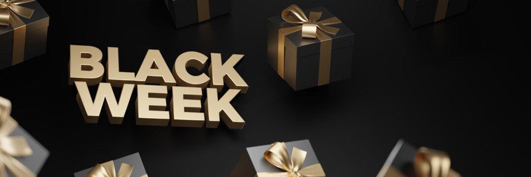 3d rendering of Black Week Super Sale. Realistic black gifts boxes. Pattern with black gift box. Dark background golden text lettering. Horizontal banner, poster, header website.