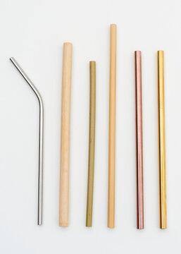 Reusable bamboo and metal straws