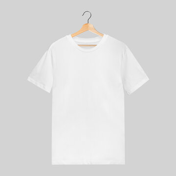 Simple white male t-shirt mockup on a wooden hanger