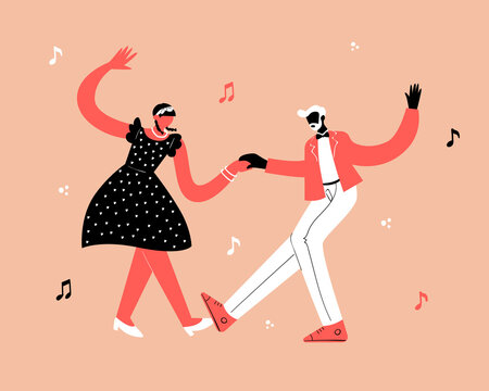 Retro party dance concept. Black young couple dancing swing, lindy hop, rock n roll.