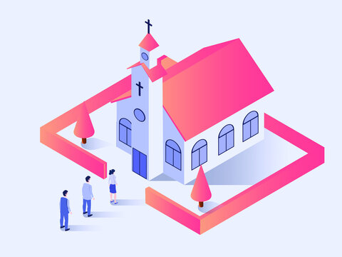 Church mass in new normal vector concept: People with social distancing queue to go inside the church