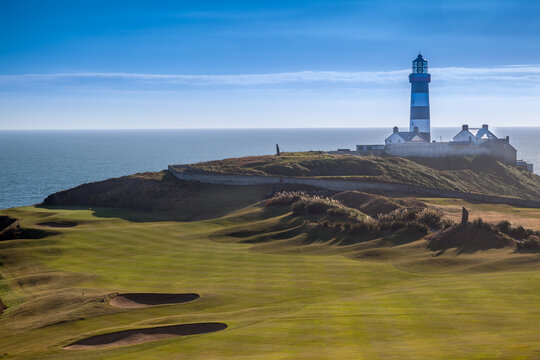 The Lighthouse Overlooking The Old Head Of Kinsale Golf Course In County Cork Ireland