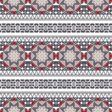 seamless striped pattern with folk motif