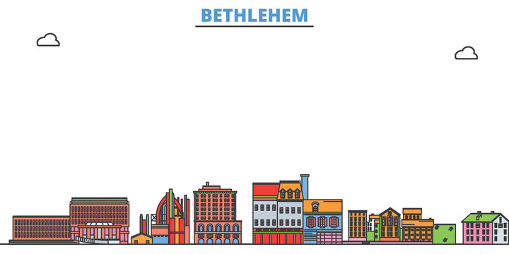 United States, Bethlehem cityscape line vector. Travel flat city landmark, oultine illustration, line world icons