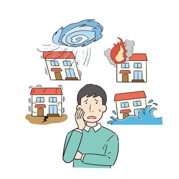 災害による住宅被害を心配する男性