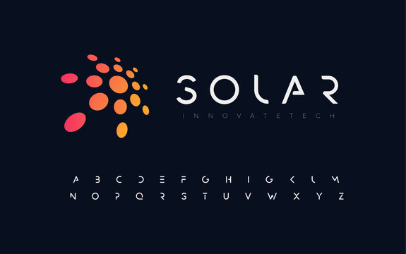 Abstract sun, flat style vector logo concept. Awesome orange isolated icon on black background. Round solar for business and startup