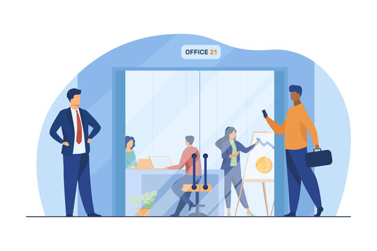 Businesspeople walking in corridor to office glass door. Employees at workplaces and presentation board flat vector illustration. Business center concept for banner, website design or landing web page