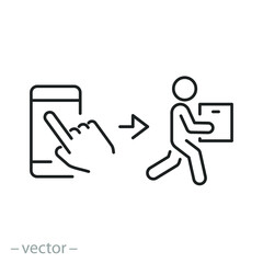 Fototapeta click buy and collect order, icon, receive order in pick up point, delivery services steps, online store concept - editable stroke line vector illustration obraz