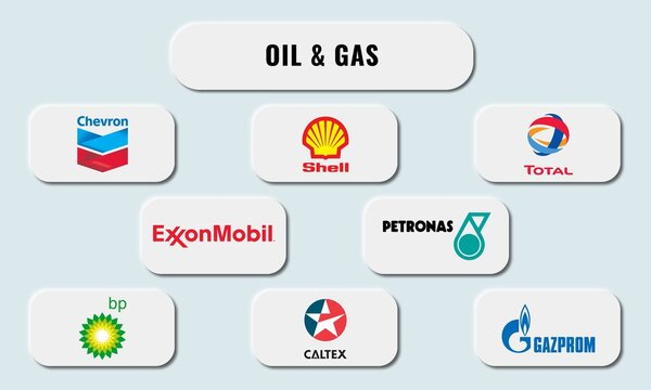 Vector illustration of popular petroleum company. Neumorphism style.