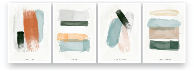 Fototapeta Abstract watercolor painting. Minimalistic style, pastel colors, Scandinavian style. Brush strokes and lines drawn with a brush. A set of vector illustrations.  obraz